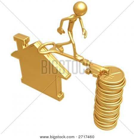 Golden Key Bridge Between Home And Coins