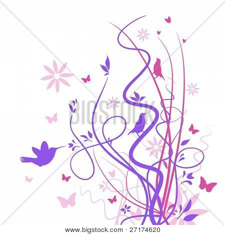 Stylized drawing of birds and butterflies with flowers and reeds