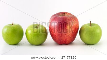 Three green apples and one red