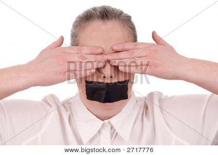 Woman With Mouth Taped