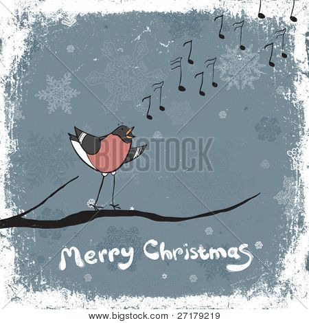 Bullfinch singer. Vintage xmas illustration, vector, EPS8
