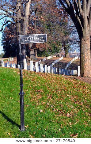 Arlington National Cemetery, President J.F. Kennedy Grave site signboard - Washington DC USA