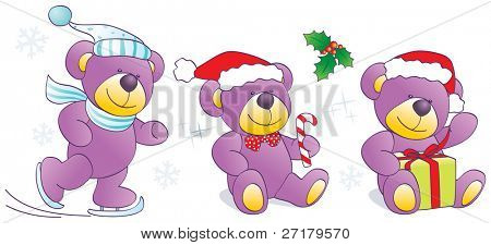 Christmas, winter funny Teddy bears with skates, candy, present. Vector illustration