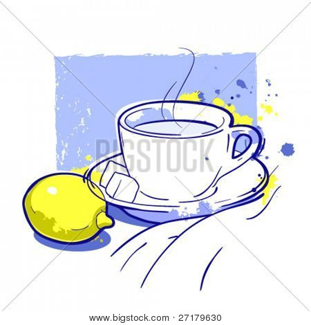Tea cup and lemon. Vector without background