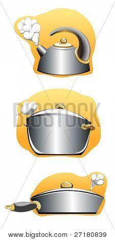 Set of steel untesils