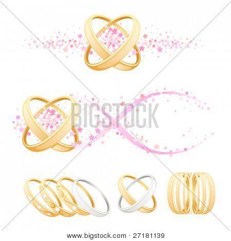 set of wedding elements for design