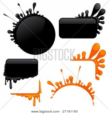 set of vector blots and corners