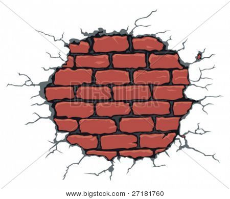 vector illustration of cracked brick wall
