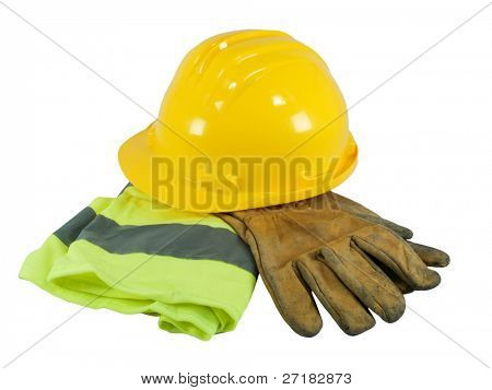 Yellow hardhat, old leather gloves and reflective vest  isolated on white background
