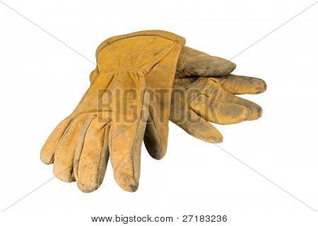 Dirty leather work-gloves
