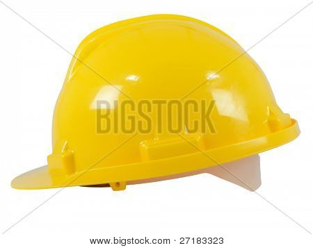 New yellow hardhat isolated on white background