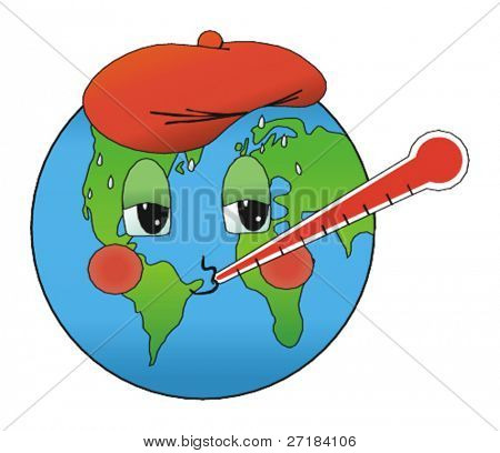 Sick earth due to global warming vector illustration
