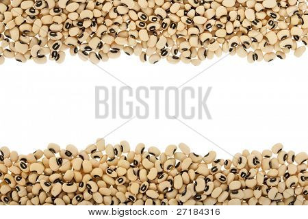 Black eyed peas arranged in a frame