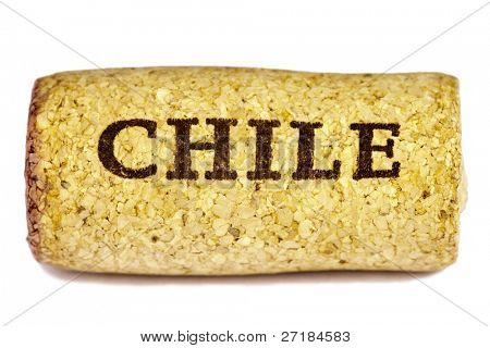 Chile wine cork isolated on white background.
