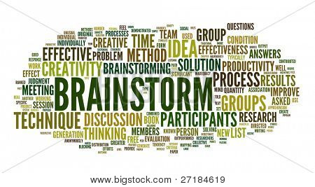 Brainstorm related words in tag cloud isolated on white