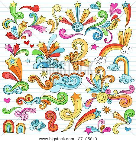 Hand-Drawn Psychedelic Groovy Notebook Doodle Design Elements Set on Lined Sketchbook Paper Background- Vector Illustration
