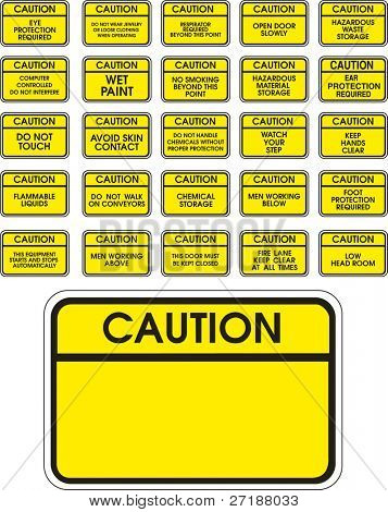 Yellow vector caution signs on white background