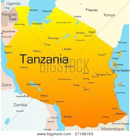 Abstract vector color map of Tanzania country