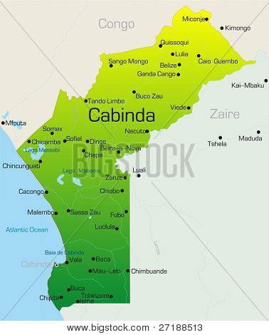 Abstract vector color map of Cabinda country