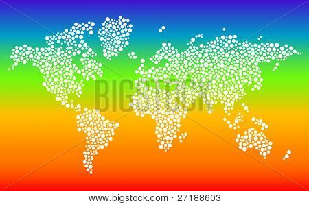 Stylized dotted world map in vector format on gradient background