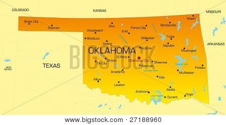 Vector color map of Oklahoma state. Usa