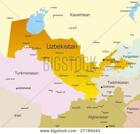 Vector color map of Uzbekistan country