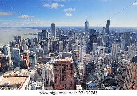Chicago urban skyline panorama aerial view with skyscrapers and cloudy sky