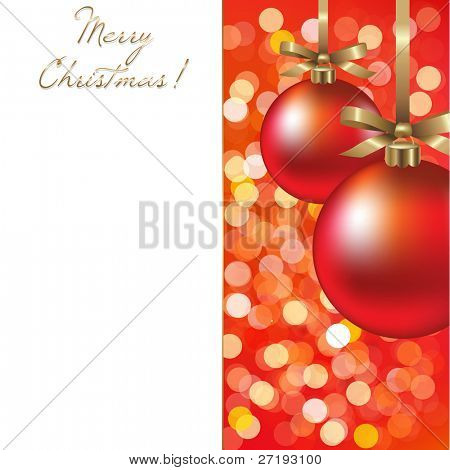 Christmas Card With Ball, Vector Illustration
