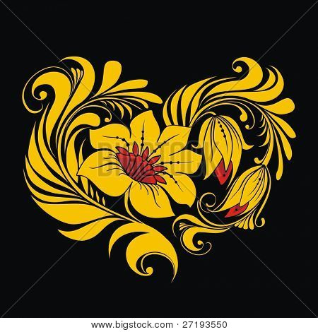 Heart of Russian traditional floral ornament