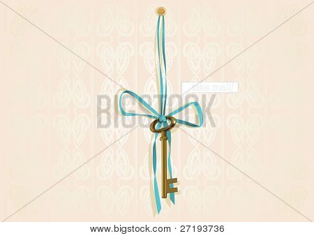 Illustration of a gold key and blue ribbon