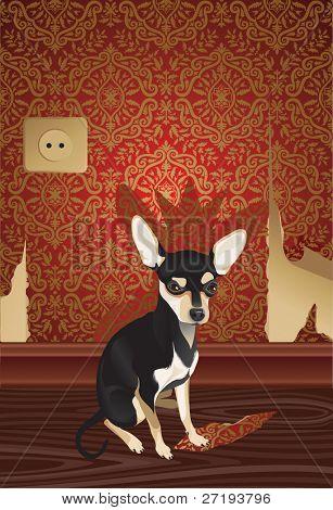 Vector illustration of the cheeky cute dog with fragment of a  wallpaper.