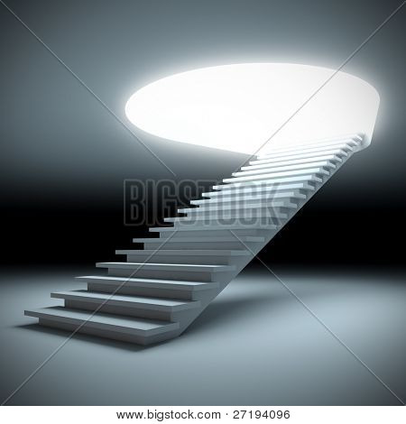 A 3d illustration of a stair to the future.