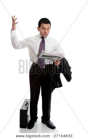 Businessman With Newspaper Throwing Up Hands
