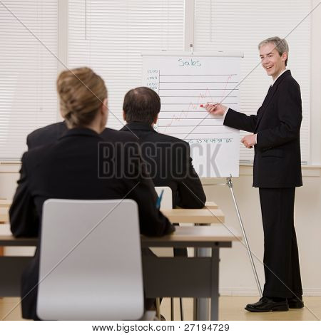 Businessman explaining presentation of financial line graph to co-workers