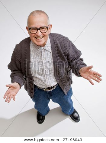 Happy, confident man gesturing in friendly way