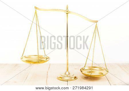 Golden Brass Balance Scale On