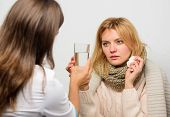 Remedies Should Help Beat Cold Fast. Tips How To Get Rid Of Cold. Woman Consult With Doctor. Girl In poster