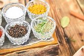 Seasoning Background. Spice And Herb Seasoning With Fresh And Dried poster