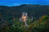 Eltz Castle At Dusk - Famous Hilltop Castle Nested In The Forest Hills Above The Moselle River Betwe poster