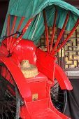 picture of rickshaw  - rickshaw close up and bamboo hat - JPG