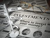 Investmments and asset allocation concept. Where to Invest? Newspaper and direction sign with invest poster