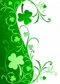 stock photo of wmf  - Fancy border with Shamrocks and swirls in gradient green on white background - JPG