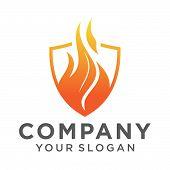 Flame Shield Logo Vector Template. Fire Logo Design Graphic. Torch Logo Design Element. Hot Fire Ico poster