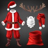 Vector Realistic Santa Claus Costume With Accessories For Fancy Dress Party, Isolated On Background. poster