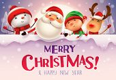 Merry Christmas! Happy Christmas Companions With Big Signboard In The Moonlight In Christmas Snow Sc poster
