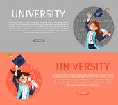 Vector Concept Illustration Cartoon Happy Students. Banner Image Set Web Page Concept University. Tw poster