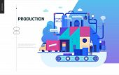 Business Series, Color 2 - Factory Production -modern Flat Vector Illustration Concept Of Industrial poster