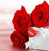 stock photo of red rose flower  - Romantic gift  - JPG