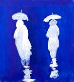Постер, плакат: Дождь пешеходов живопись в акрил Кей Гейл
