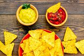 Snack For Party. Mexican Nachos Near Salsa And Guacamole Sause On Dark Wooden Background Top View poster